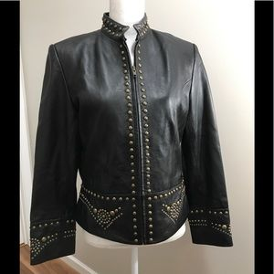 Scully Studded Black Leather Moto Jacket Large